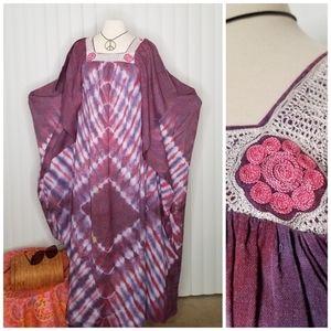 Vtg 1970s Purple Tie-dye Kaftan